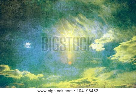 retro sky with soft cloud background