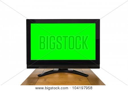 Modern television isolated on white with chroma key green screen.