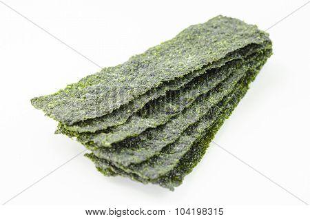 Fried Seaweed On White Background.