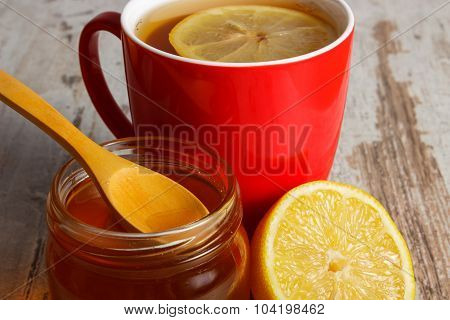 Fresh Lemon, Honey And Cup Of Tea On Wooden Table, Healthy Nutrition