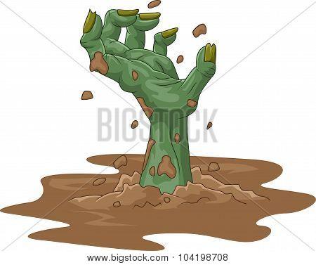 Cartoon zombie hand out of the ground on isolated background
