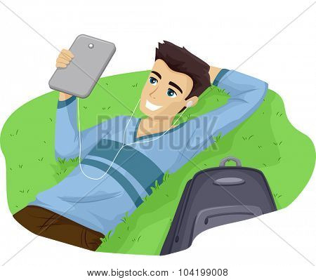 Illustration of a Teenage Guy Lying on the Grass While Looking at His Tablet