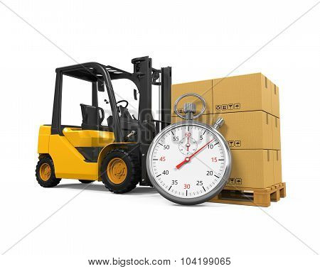 Forklift Truck with Boxes and Stopwatch