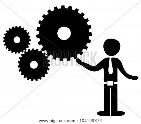 Man Rotating Gears Vector Illustration