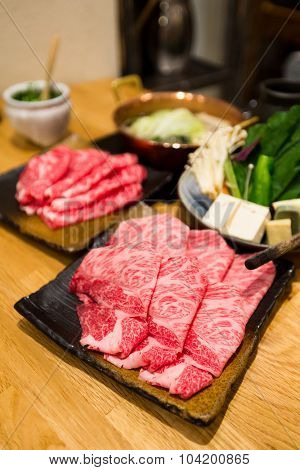 Fresh Beef and pork slices for Sukiyaki