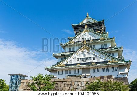 Osaka Castle in Japan with clear blue sky