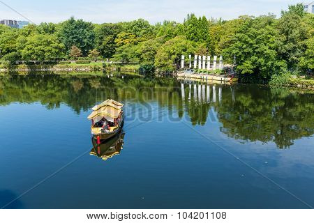Tourism boat on river in park