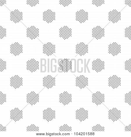 Black And White Seamless Pattern With Halftone Hexagons