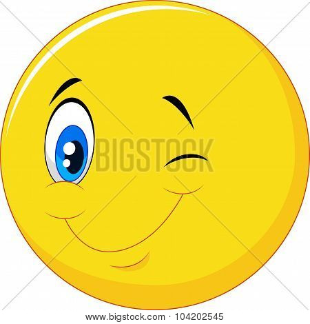Happy emoticon cartoon with eye blinking on isolated background