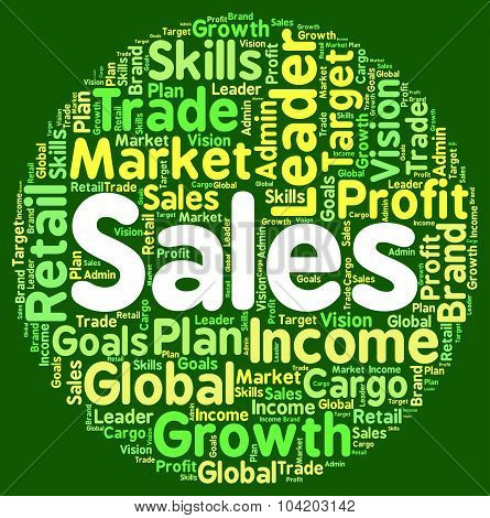 Sales Words Shows Marketing Sell And Commerce