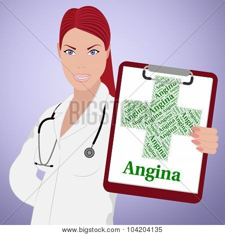 Angina Word Shows Congenital Heart Disease And Affliction