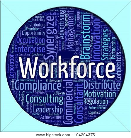 Workforce Word Shows Human Resources And Manpower