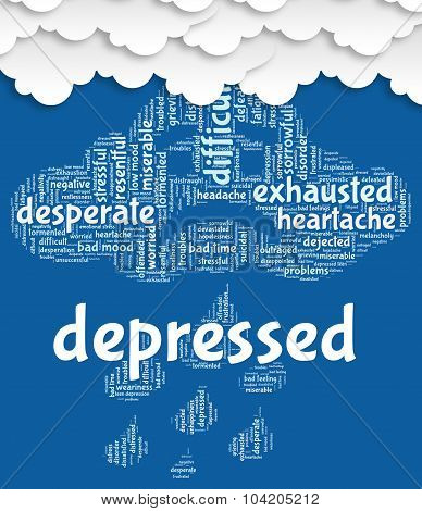 Depressed Word Represents Lost Hope And Anxious
