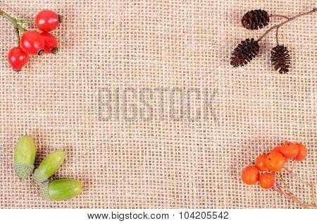 Autumn Decoration On Jute Canvas