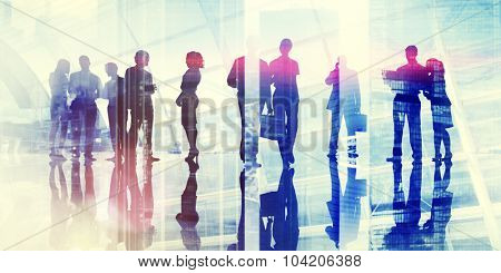 Business People Commuter Discussion Busy Concept