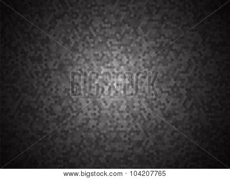 Black Hexagon Background With Vignette