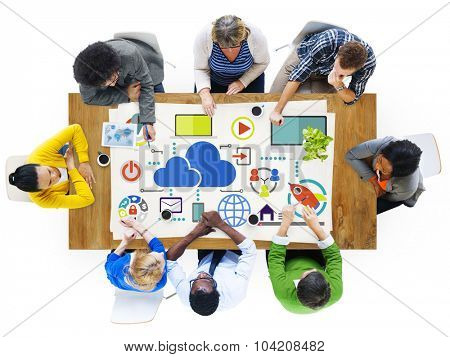 Brainstorming Sharing Online Global Communication Cloud Concept