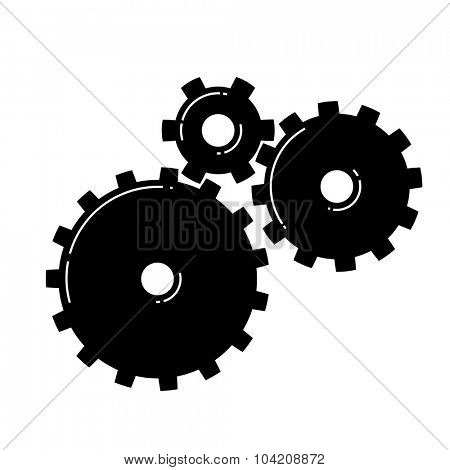 Three Gears icon. Vector illustration