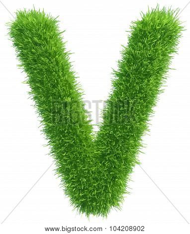Vector capital letter V from grass on white background