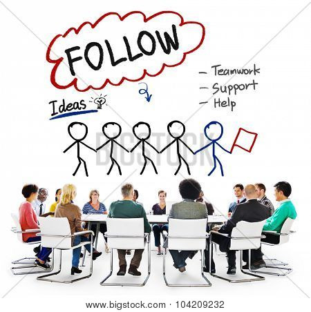 Follow Support Ideas Teamwork Social Media Concept