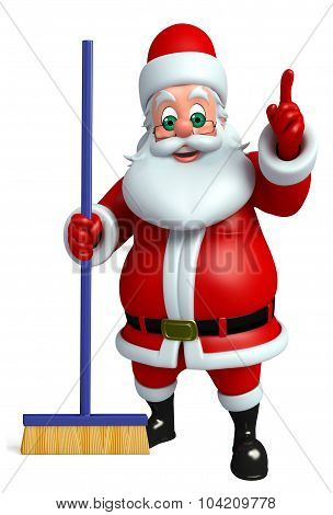 Santa Claus With Cleaning Mob