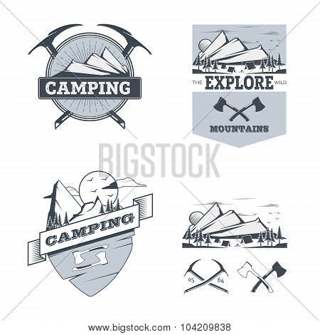 Camping and outdoor activity logos. Stock vector.