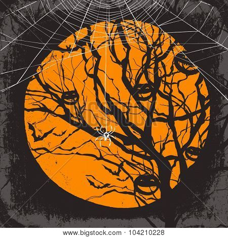 Halloween vector background. Dry tree and spider web