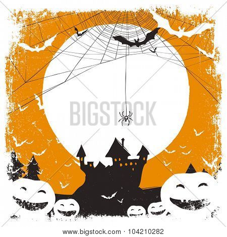 Halloween illustration with haunted castle and spider web and space for text