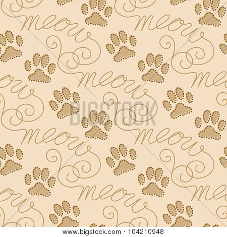 Seamless Pattern With Cat Footprints