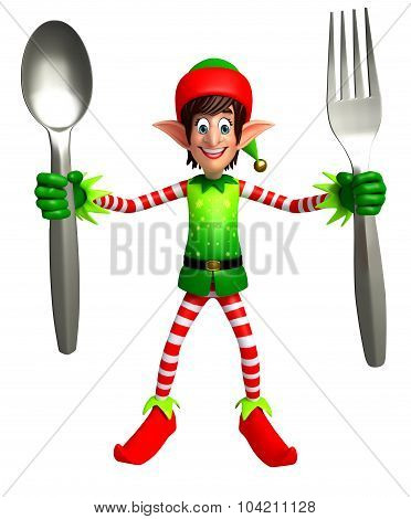 Cartoon Elves With Spoon