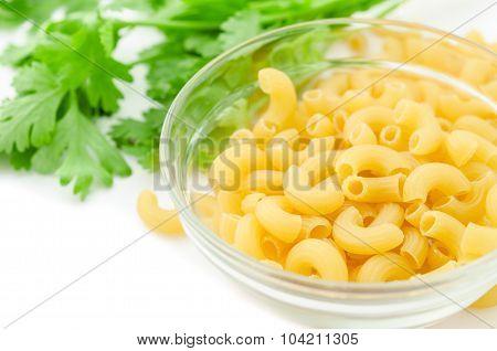 Raw Elbows Macaroni Pasta.