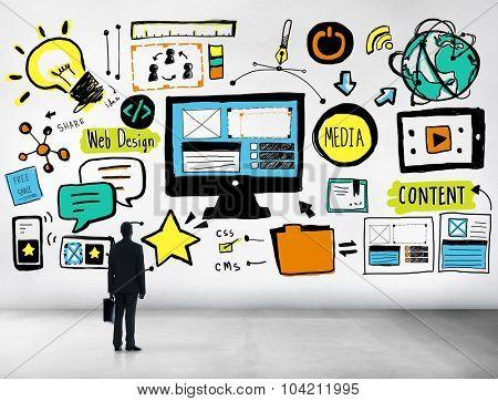 Businessman Web Design Content Looking up Idea Concept