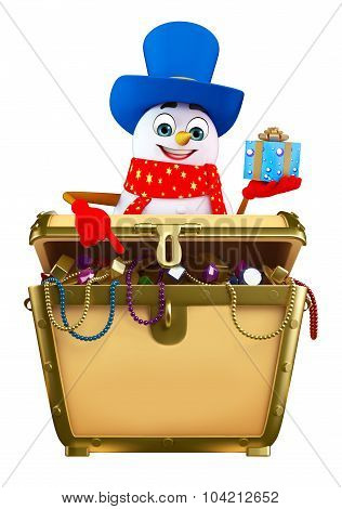 Cartoon Snowman With Treasury Box