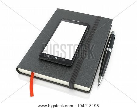 Notepad With Ballpoint Pen And Smartphone On A White Background.