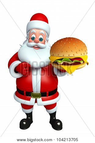 Cartoon Santa Claus With Burger