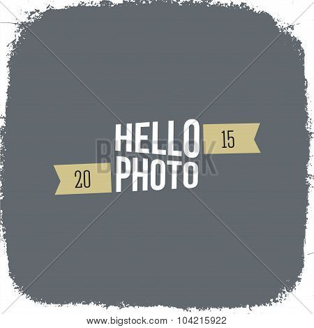 1Grunge vector vintage texture. Photo frame with hipster logo