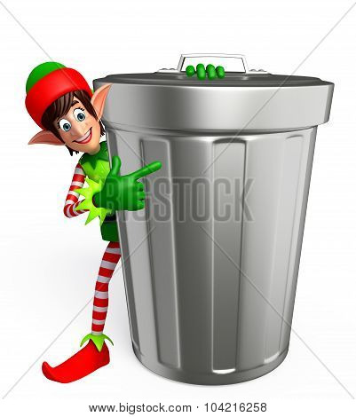 Cartoon Elves With Dust Bin