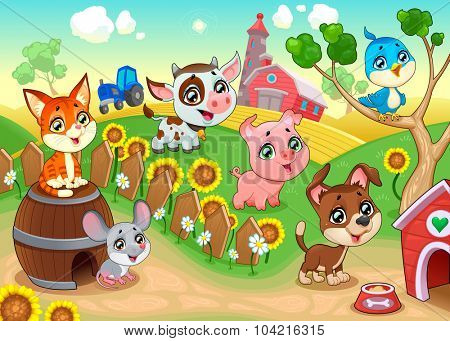 Cute farm animals in the garden. Vector cartoon illustration.