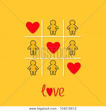 Man Woman Contour Line Icon Tic Tac Toe Game. Three Red Heart Sign Love Yellow Background Flat Desig