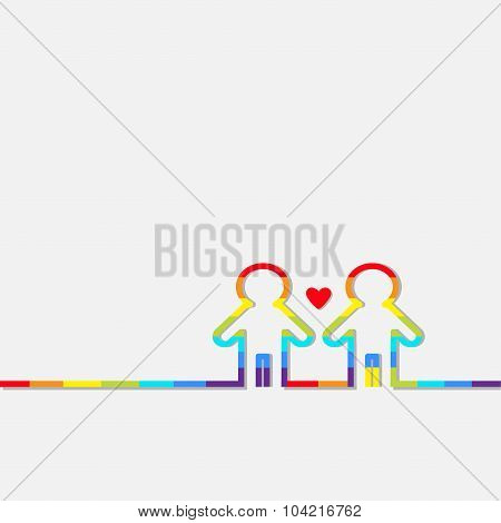 Gay Marriage Pride Symbol Two Contour Rainbow Man Lgbt Icon Red Heart Flat Design