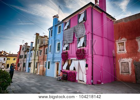 Typical Brightly Colored Houses Of Burano, Venice Lagoon, Italy.
