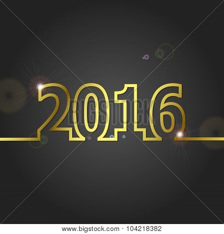 2016 Happy New Year On Grey Background
