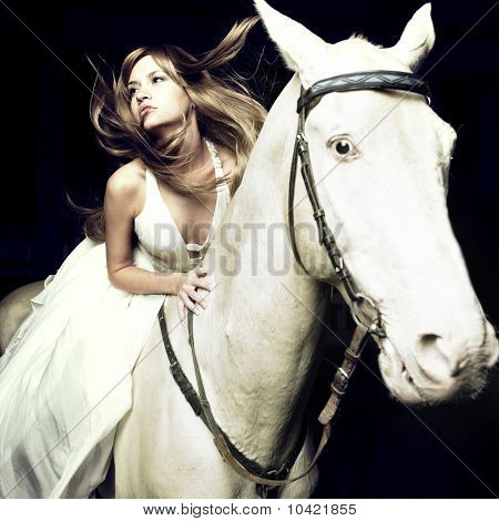 Beautiful Girl And White Horse