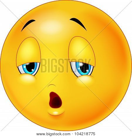 Exhausted and tired emoticon on isolated background