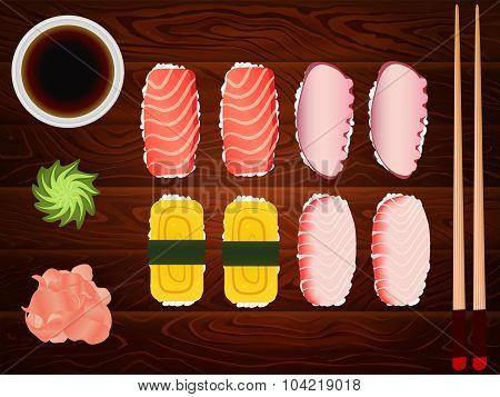 Sashimi Set Soy Sause Ginger Chopsticks Wood 4