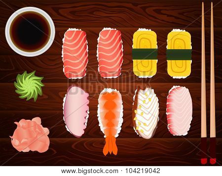 Sashimi Set Soy Sause Ginger Chopsticks Wood 5
