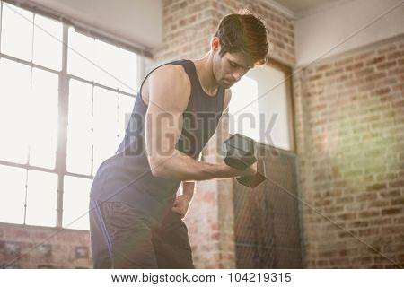 Man in sportswear lifting dumbbell at the gym