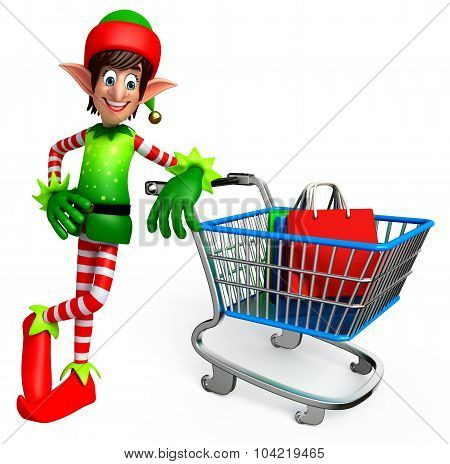 Elves With Shopping Bag And Trolley