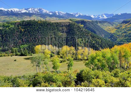 Mountains With Colorful Yellow, Green And Red Aspen During Foliage Season