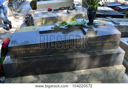 PARIS FRANCE - SEPT 12 2014: Edith Piaf grave in Pere-Lachaise cemetery Paris France